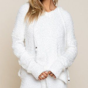 White Fuzzy Hoodie Pullover